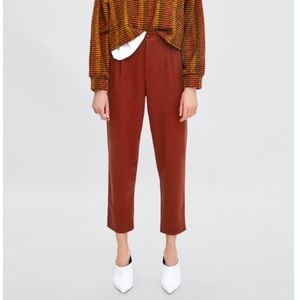 Zara high waisted trousers ankle length tapered